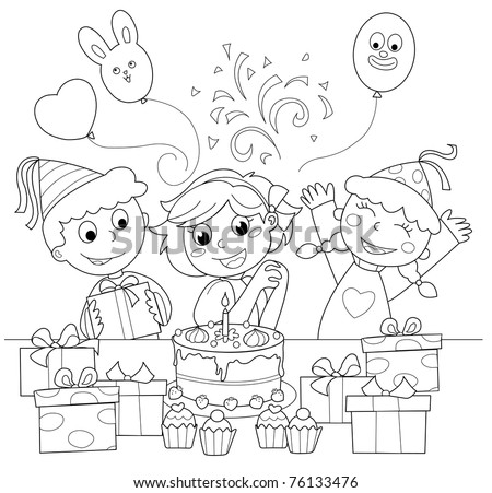 Birthday party: happy girl with cake and gifts. Black and white illustration.