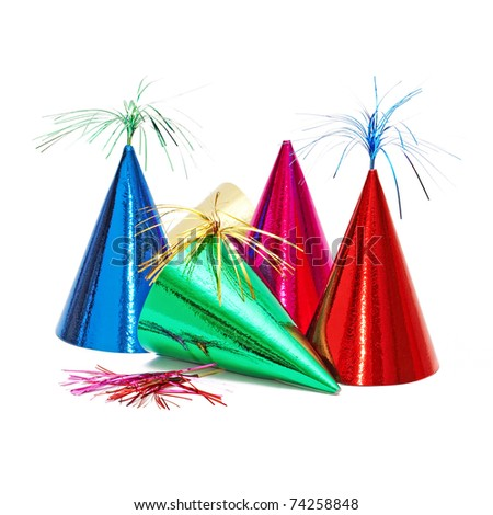 birthday party hats on white background
