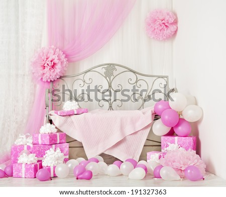birthday party room background with gift boxes Kids celebration presents girl or woman