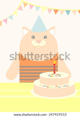 Birthday party with cute young animal. Cat. Pastel colors.