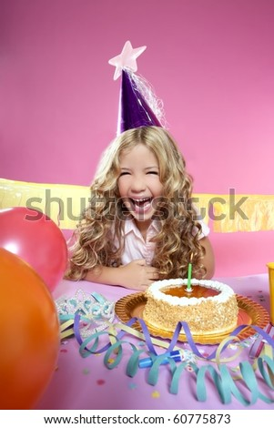 birthday party with little blond happy girl
