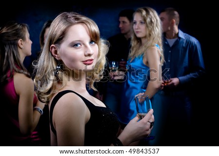 birthday party with many young people - stock photo