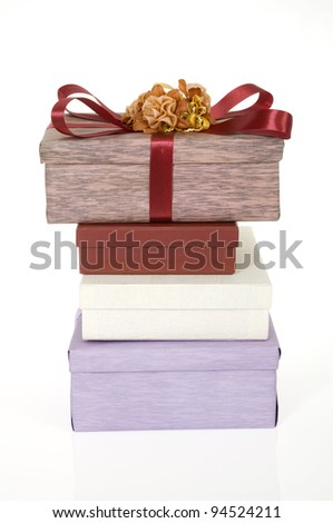 Birthday present gifts stacked over white background