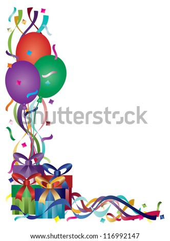 Birthday Presents with Colorful Ribbons and Confetti Border Background Raster Vector Illustration
