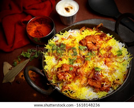 Biryani rice dish. Beautiful Indian rice dish