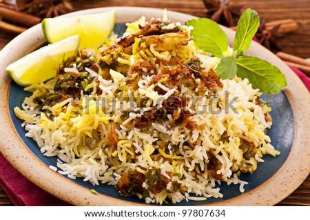 Biryani with lime pieces