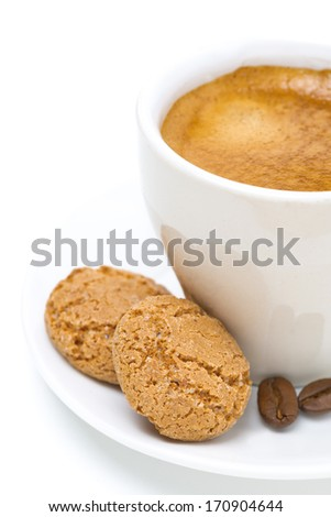 biscotti and cup of espresso, isolated on white