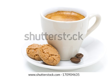 biscotti cookies and cup of espresso, isolated on white