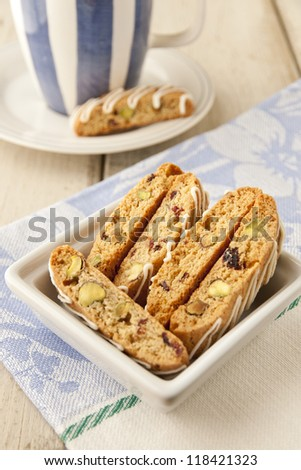 Biscotti  with pistachio and cranberry.  selective focus, shallow dof