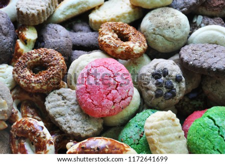 biscuit background,miscellaneous cookies,Different Sweets #1172641699