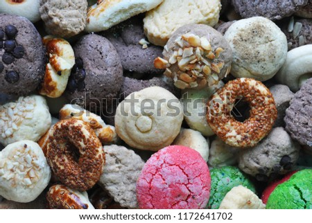 biscuit background,miscellaneous cookies,Different Sweets #1172641702