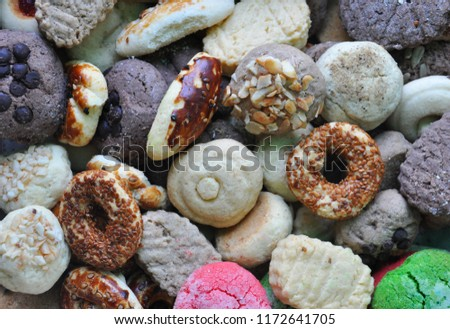 biscuit background,miscellaneous cookies,Different Sweets #1172641705