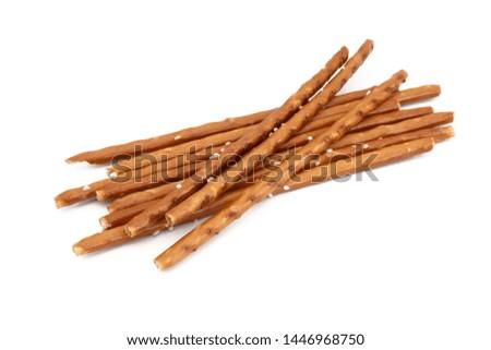 Biscuit sticks, Pretzel sticks on white background