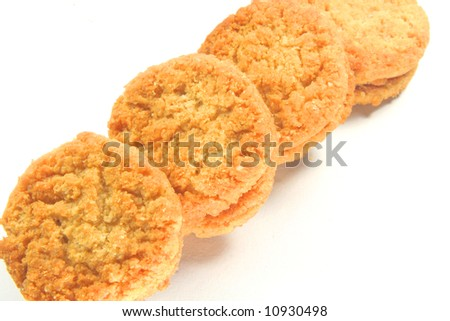 Biscuits Cookies and on a isolated white background