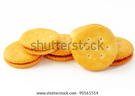 biscuits on white - stock photo