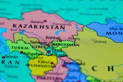 Bishkek, the capital and largest city of Kyrgyzstan on a geographical map