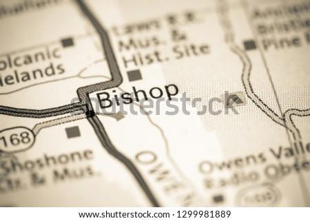 Bishop. California. USA on a map
