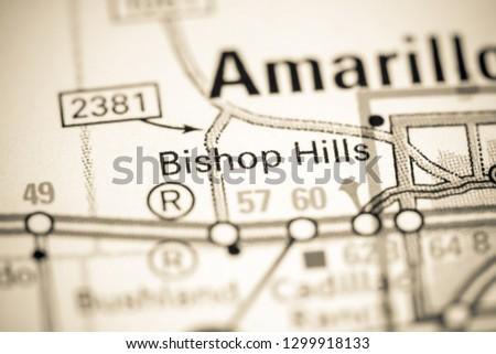 Bishop Hills. Texas. USA on a map