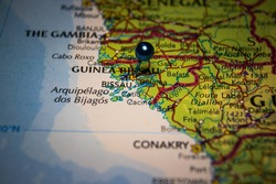 Bissau, the capital city of Guinea-Bissau pinned on geographical map