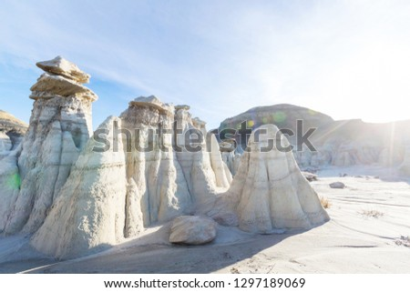 Bisti badlands, De-na-zin wilderness area, New Mexico, USA. Fantastic unusual landscapes.