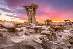 Bisti/De-Na-Zin Wilderness, New Mexico, USA at Alien Throne after sunset.