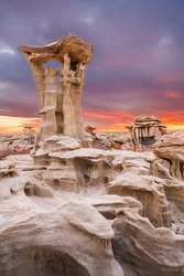 Bisti/De-Na-Zin Wilderness, New Mexico, USA at Valley of Dreams after sunset.