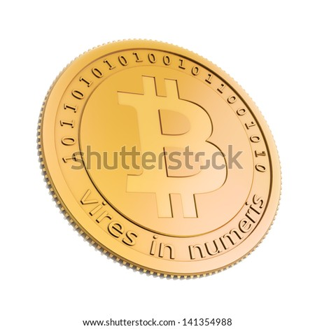 Bit coins, the virtual currency concept illustration