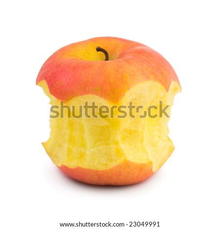 Bit of apple fruit isolated on white background