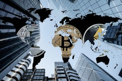 Bitcoin and Crypto Currencies pictured on a global map in corporate skyscraper background. Corporations, Institutions, hedge funds, pension providers are all starting to invest in digital assets. HODL