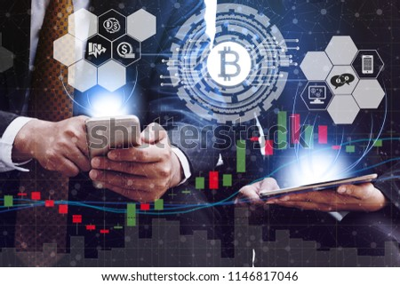 Bitcoin and cryptocurrency exchange concept.