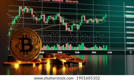 Bitcoin and cryptocurrency investing concept. 3D rendering.