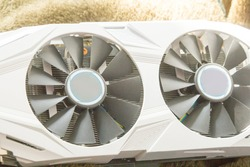Bitcoin and cryptocurrency miner - a mining computer GPU in white color