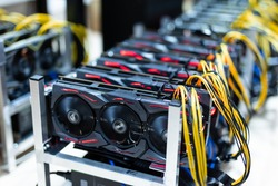 Bitcoin and cryptocurrency miner - a mining computer in server room
