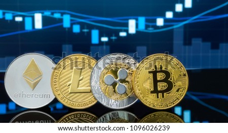 Bitcoin and cryptocurrency with market prices chart in background. #1096026239