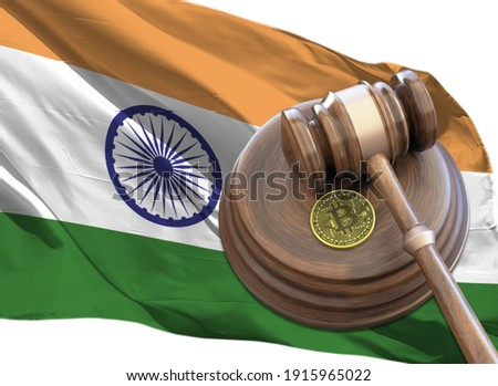 Bitcoin and judge gavel laying on flag of India. Bitcoin legal situation in India concept. Crypto currency laws in India concept, gavel and bitcoin with flag 3D rendering.
