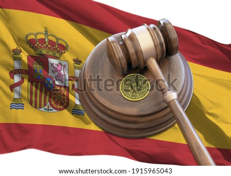 Bitcoin and judge gavel laying on flag of Spain. Bitcoin legal situation in Spain concept. Crypto currency laws in Spain concept, gavel and bitcoin with Spain flag 3D rendering.