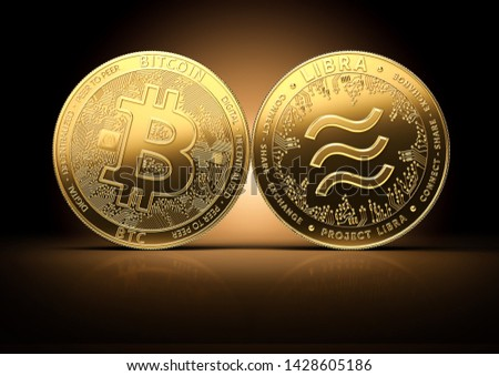 Bitcoin and Libra fights for the leadership on a gently lit dark background. Competing cryptocurrencies concept.3D rendering