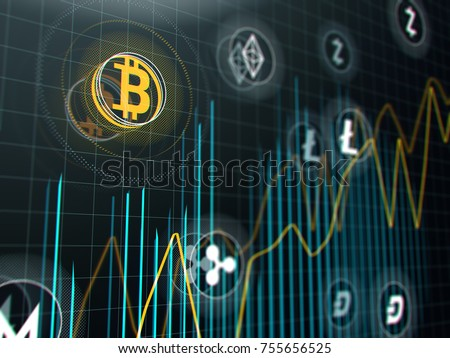 Bitcoin and other virtual money. Cryptocurrency stock market graph on virtual screen. 3d illustration