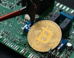 Bitcoin And Pickaxe Mining On Green Micro Scheme, Bitcoin Mining Concept