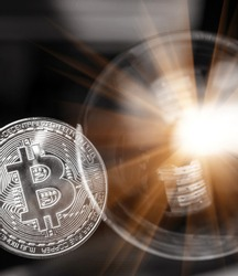Bitcoin and the bubble as an abstract symbol of the risks of a digital currency and possible collapse and abrupt change of course (falling, collapse, fiasco, fraud - the concept)