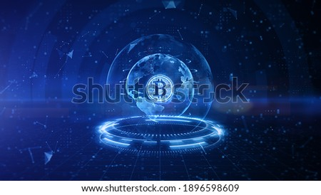 Bitcoin blockchain crypto currency digital encryption, Digital money exchange, Technology global network connections background concept. 3D Rendering