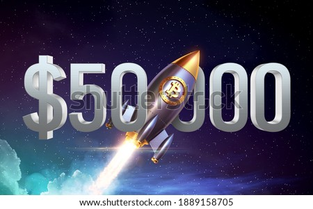 Bitcoin breaks $ 50000 barrier amid speculation over spin-off. Bitcoin logo rocket launcher, cryptocurrency concept. The growth rate of the gold coin for designers and breaking news. 3d render