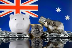 Bitcoin (BTC), Blockchain Technology, energy concept and Australia Flag. Electricity prices, energy saving in the cryptocurrency mining business.