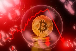 Bitcoin BTC coin in a soap bubble. Risks and dangers of investing to Bitcoin cryptocurrency. Collapse of the exchange rate. Unstable concept. Down drop crash bubble