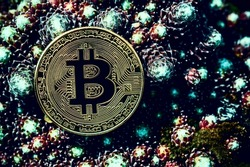 Bitcoin (BTC) in dark flowerbed. Cryptocurrency ideas and future technology. digital currency money financial system, Impact of Bitcoin on environment.  cryptocurrency mining business