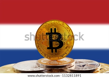 Bitcoin BTC on stack of cryptocurrencies with Netherlands flag in background. The cryptocurrency coin is golden and in focus