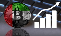 Bitcoin close-up on the keyboard background, the United Arab Emirates flag is shown on the bitcoin.