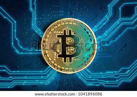 Bitcoin Coin. Bitcoin-crypto-currency on an abstract background. Coin in focus.