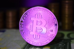 Bitcoin coin is BTC, preferably color pink.