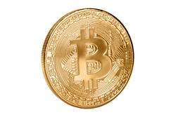 Bitcoin coin isolated on white background. Cryptocurrency, virtual money. Blockchain technology, bitcoin mining concept
